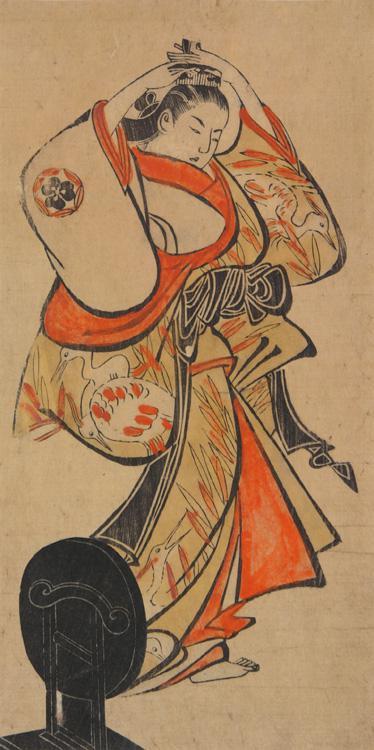 Torii Kiyotada I Courtesan Adjusting a Comb in Her Hair 1700-1705